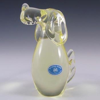 Zelezny Brod Sklo Czech Citrine Glass Dog - Labelled