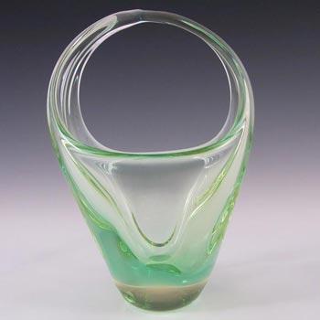 Zelezny Brod Czech Green + Citrine Glass Basket Sculpture