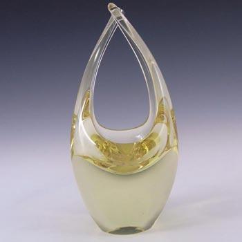 Zelezny Brod Czech Citrine Glass Basket Sculpture