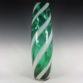 Alrose Massive Italian Empoli Green & White Glass Vase