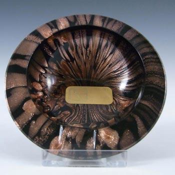 V Nason & C Murano Aventurine Glass Bowl - Labelled