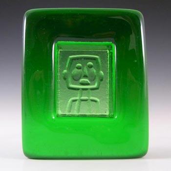 Kosta Boda Swedish Green Glass Robot Bowl by Erik Hoglund