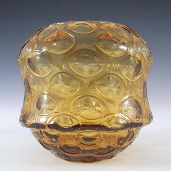Borske Sklo 1950's Amber Glass Optical 'Olives' Vase