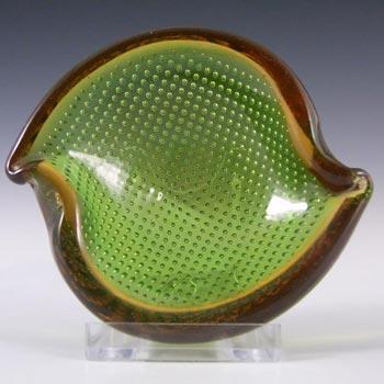 Murano Biomorphic Green + Amber Glass Bullicante Bowl