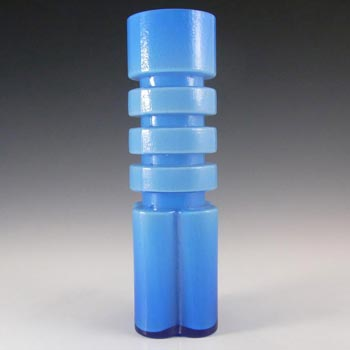 Alsterfors #S5054 Blue Cased Glass Vase Signed P. Strom '70