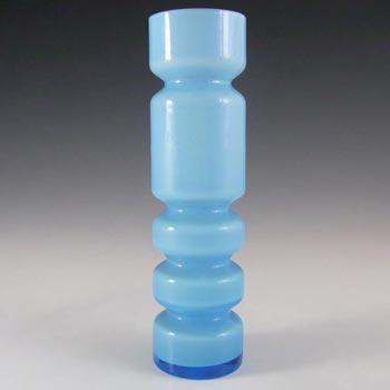 Ryd Scandinavian / Swedish Blue Cased Glass Hooped Vase