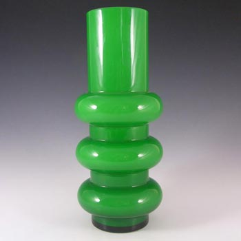 Ryd Glasbruk Swedish / Scandinavian Green Glass Hooped Vase