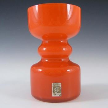 Lindshammar / JC 1970's Swedish Orange Hooped Glass Vase