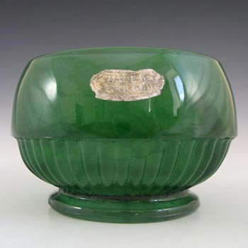 Davidson #10/1910 Art Deco Green Cloud Glass Bowl