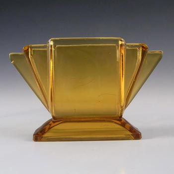 Art Deco Vintage 1930's Amber Pressed Glass Vase