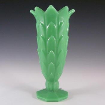 Art Deco 1930's Jade Green Pressed Glass Vase