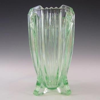 Bagley #3057 Art Deco Vintage Green Glass 'Bedford' Vase