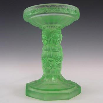Müller & Co 'Cherubs' Art Deco Uranium Glass Centrepiece Stand