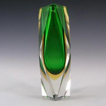 Murano Faceted Green & Amber Sommerso Glass Block Vase