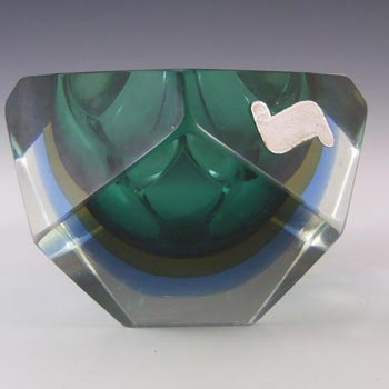 Murano Faceted Green & Blue Sommerso Glass Block Bowl
