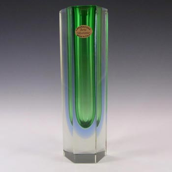 Murano Faceted Green & Blue Sommerso Glass Block Vase