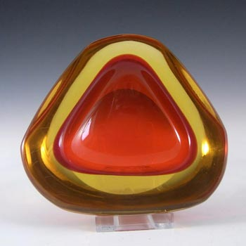 Murano Geode Red & Amber Sommerso Glass Triangle Bowl