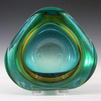 Murano Geode Green & Amber Sommerso Glass Triangle Bowl
