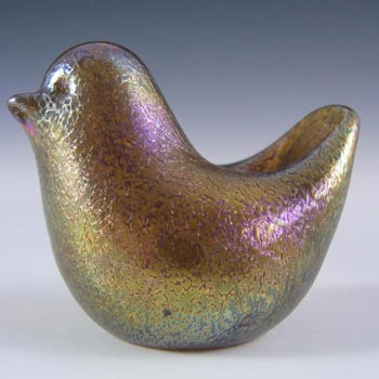 Isle of Wight Studio Gold Iridescent Glass Bird - Labelled