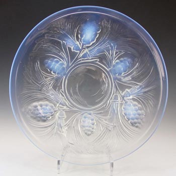 Jobling #5000 SIGNED Art Deco Opalescent Glass Fircone Plate