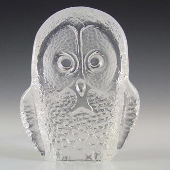 Mats Jonasson / Kosta #93056 Glass Owl Paperweight - Signed