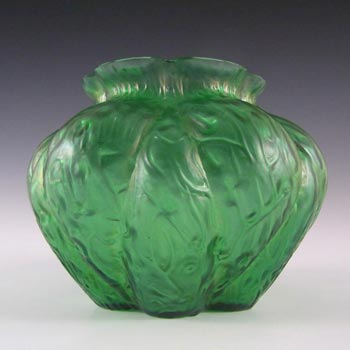 Art Nouveau 1900's Iridescent Green Glass Antique Vase