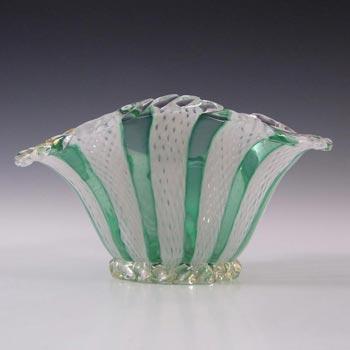 Murano Green & White Glass Zanfirico Filigree Bowl