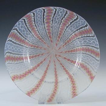Salviati Murano Zanfirico & Aventurine Pink Glass Plate