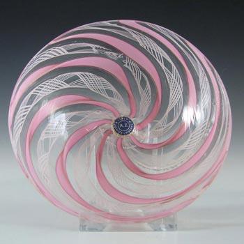 Murano Pink & White Glass Zanfirico Filigree Bowl