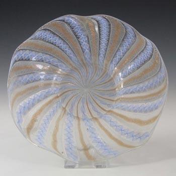 Salviati Murano Zanfirico & Aventurine Blue Glass Plate