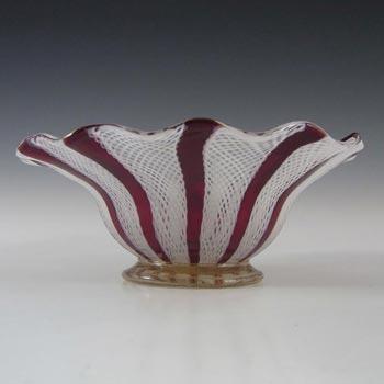 Murano Red & White Glass Zanfirico Filigree Bowl