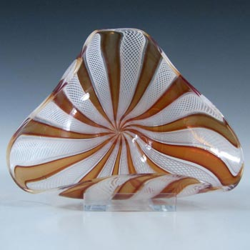 Murano 1950's Zanfirico Lattice Filigree Red Glass Bowl