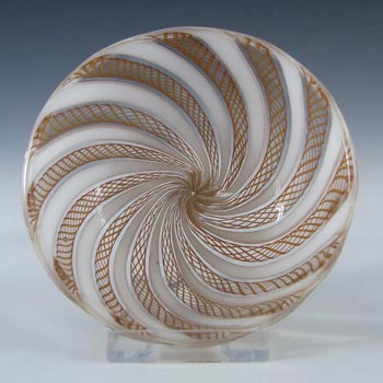 Murano Brown & White Glass Zanfirico Filigree Bowl