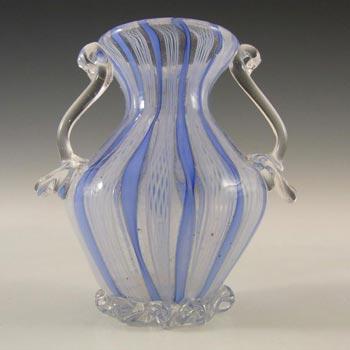 Murano Blue & White Glass Zanfirico Filigree Vase