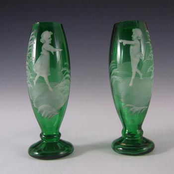 Mary Gregory Pair of Bohemian Hand Enamelled Glass Vases