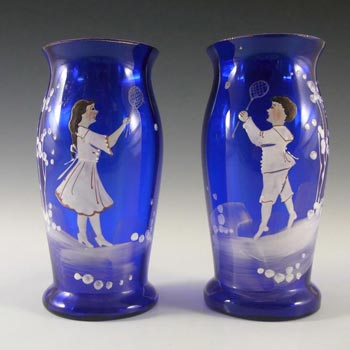 Mary Gregory Bohemian Hand Enamelled Blue Glass Vases