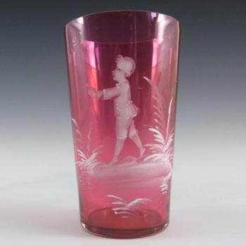 Mary Gregory Bohemian Hand Enamelled Cranberry Glass Tumbler