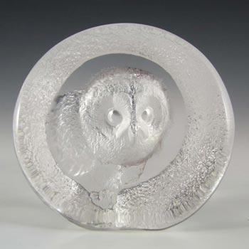 Mats Jonasson #9207 Glass Owl Paperweight - Signed