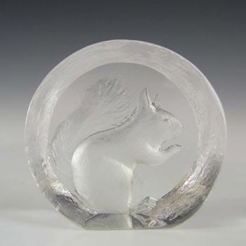 Mats Jonasson Glass Squirrel Paperweight - Signed