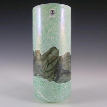 Mdina Green + Grey Glass Vase - Signed & Labelled