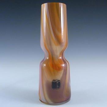 Carlo Moretti Marbled Brown & White Murano Glass Vase