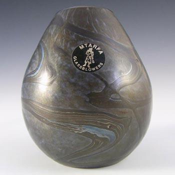 Mtarfa Maltese Blue & Grey Iridescent Glass Vase - Signed