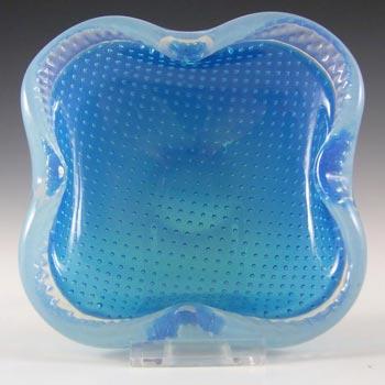 Murano Biomorphic Blue + Opalescent Glass Bullicante Bowl