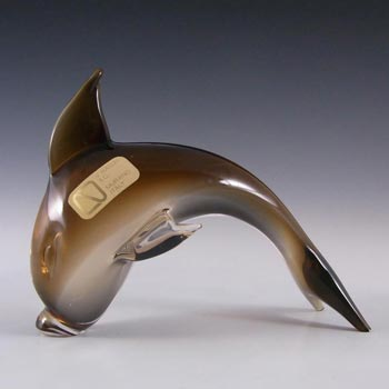 V. Nason & Co Murano Amber Glass Dolphin Sculpture - Signed
