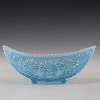 Davidson 1900s Blue Pearline Glass War of the Roses Bowl