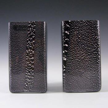 Seguso Vetri d'Arte Black Glass + Silver Leaf Vases - Label