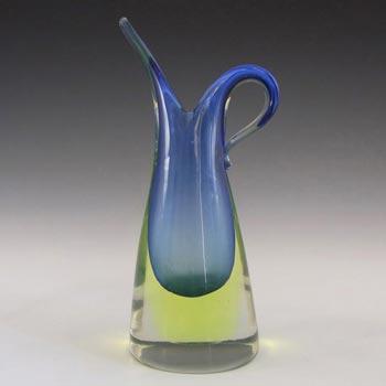 Murano/Venetian Blue & Uranium Sommerso Glass Vase/Jug