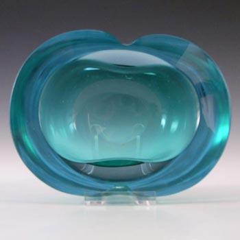Murano Geode Turquoise & Blue Sommerso Glass Figure Eight Bowl