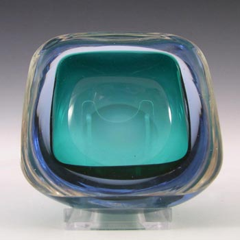 Murano Geode Turquoise & Blue Sommerso Glass Square Bowl
