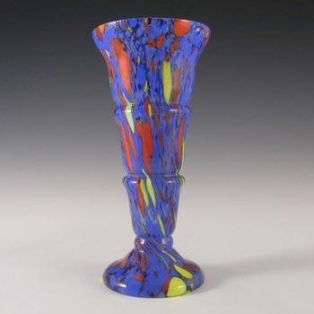Kralik Czech Art Deco Blue Spatter / Splatter Glass Vase